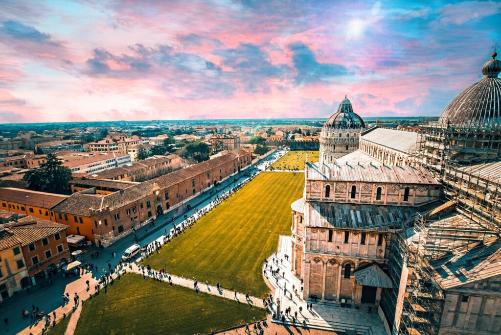 Picture of Pisa Landscape Ontop Of The Leaning Tower Of Pisa, In Pisa Italy.  Photographer: https://www.instagram.com/alttr_photography/